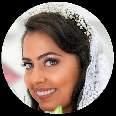 Close de rosto de noiva